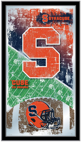 "Syracuse Orange HBS Navy Football Framed Hanging Glass Wall Mirror (26""x15"")"