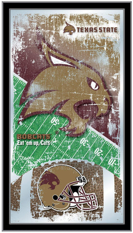 "Texas State Bobcats HBS Football Framed Hanging Glass Wall Mirror (26""x15"")"