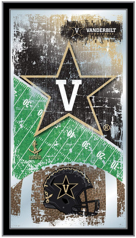 "Vanderbilt Commodores HBS Football Framed Hanging Glass Wall Mirror (26""x15"")"