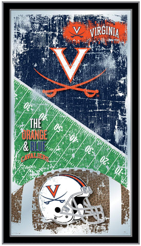 "Virginia Cavaliers HBS Football Framed Hanging Glass Wall Mirror (26""x15"")"