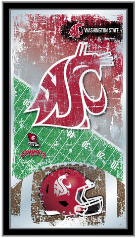 "Washington State Cougars HBS Football Framed Hanging Glass Wall Mirror (26""x15"")"