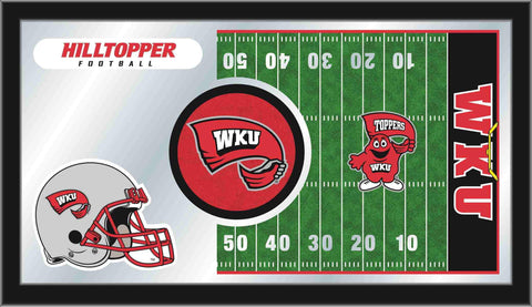 "Western Kentucky Hilltoppers HBS Football Framed Glass Wall Mirror (26""x15"")"