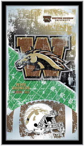"Western Michigan Broncos HBS Football Framed Hanging Glass Wall Mirror (26""x15"")"