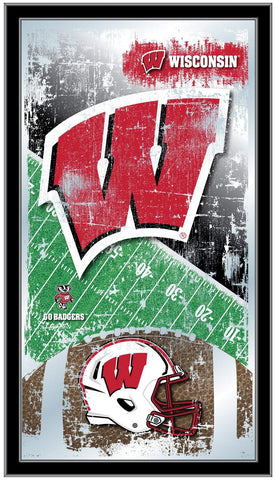 "Wisconsin Badgers HBS Red Football Framed Hanging Glass Wall Mirror (26""x15"")"