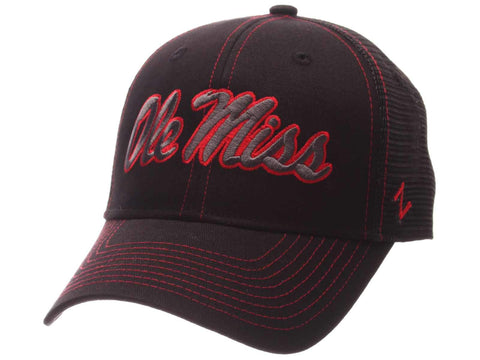 Ole Miss Rebels Zephyr Black Mesh Blackout Trucker Adjustable Snapback Hat Cap