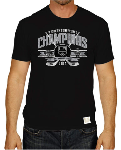 Shop Los Angeles LA Kings 2014 Western Conference Champions Retro Brand Black T-Shirt