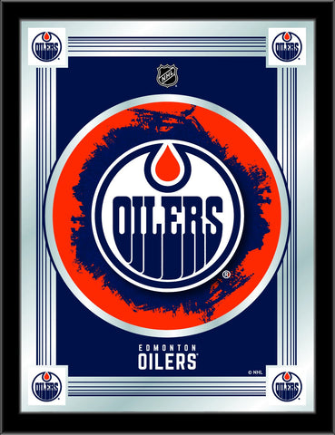 "Edmonton Oilers Holland Bar Stool Co. Collector Blue Logo Mirror (17"" x 22"")"
