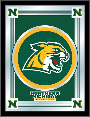 "Northern Michigan Wildcats Holland Bar Stool Co. Green Logo Mirror (17"" x 22"")"
