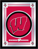 "Wisconsin Badgers Holland Bar Stool Co. Collector ""W"" Logo Mirror (17"" x 22"")"