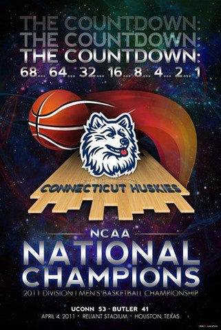 Shop Connecticut UCONN Huskies 2011 Basketball National Champions Poster Print 24x36 - Sporting Up