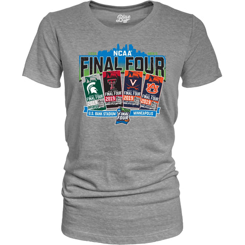 2019 NCAA Final Four Team Logos March Madness Minneapolis WOMEN Ticket T-Shirt
