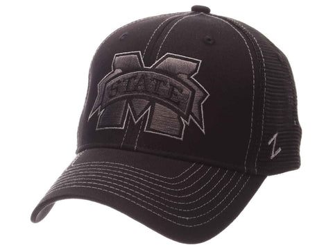 Shop Mississippi State Bulldogs Zephyr Black Mesh Blackout Trucker Adjustable Hat Cap - Sporting Up