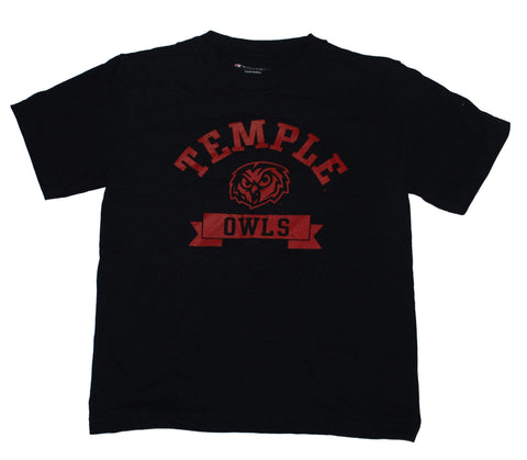 Temple Owls Champion Youth Black Owls Logo Mascot T-Shirt (M)