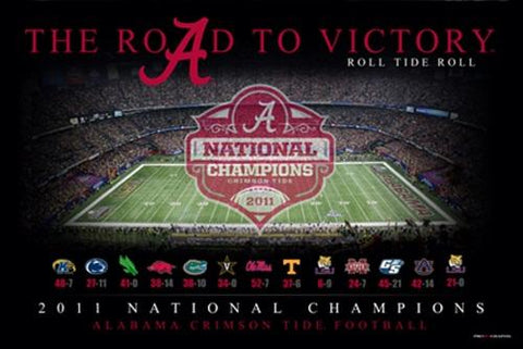 "Shop Alabama Crimson Tide ""The Road To Victory"" 2011 National Champions Poster Print"