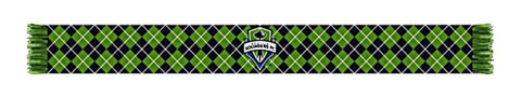 "Shop Seattle Sounders Ruffneck Green Black Argyle Knit Acrylic Scarf 7"" x 60"""