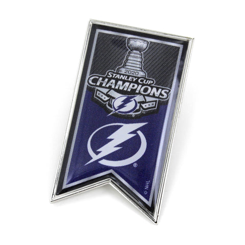 Tampa Bay Lightning 2020 NHL Stanley Cup Champions Aminco Team Banner Lapel Pin