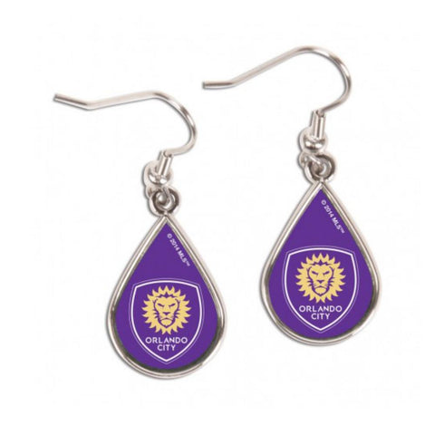 Shop Orlando City SC Women's MLS WinCraft Purple Tear Drop Earrings