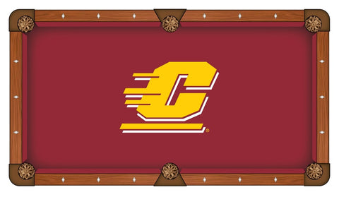Central Michigan Chippewas Red with Yellow Logo Billiard Pool Table Cloth