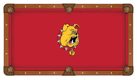 Ferris State Bulldogs HBS Red with Bulldog Head Billiard Pool Table Cloth