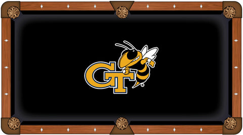 Georgia Tech Yellow Jackets Black with Yellow Logo Billiard Pool Table Cloth