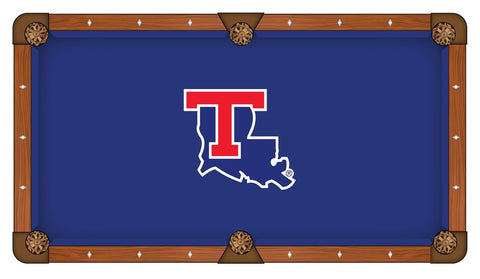 Louisiana Tech Bulldogs HBS Blue with State Outline Billiard Pool Table Cloth