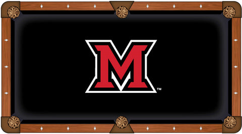 Miami University Redhawks Black with Red Logo Billiard Pool Table Cloth