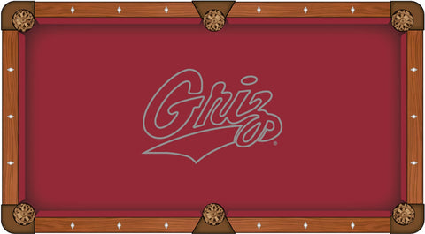 "Montana Grizzlies HBS Red with ""GRIZ"" Logo Billiard Pool Table Cloth"