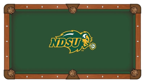 North Dakota State Bison Green with Yellow Logo Billiard Pool Table Cloth