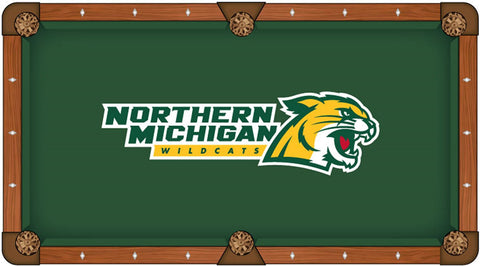 Northern Michigan Wildcats Green Circular Logo Billiard Pool Table Cloth
