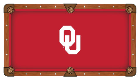 "Oklahoma Sooners HBS Red with White ""OU"" Logo Billiard Pool Table Cloth"