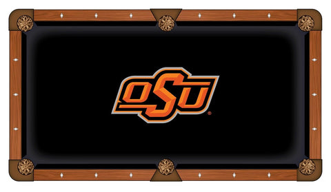 Oklahoma State Cowboys Black with Orange Logo Billiard Pool Table Cloth