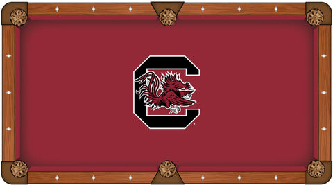 South Carolina Gamecocks HBS Red with Black Logo Billiard Pool Table Cloth