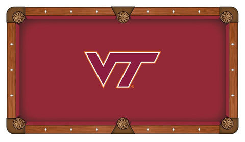 "Virginia Tech Hokies HBS Red with ""VT"" Logo Billiard Pool Table Cloth"