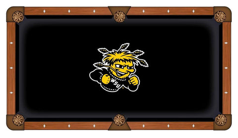 Wichita State Shockers HBS Black with Yellow Logo Billiard Pool Table Cloth