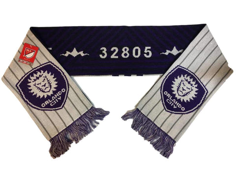 "Shop Orlando City SC Adidas Purple & White MLS ""32805"" Acrylic Knit Scarf w Tassles"