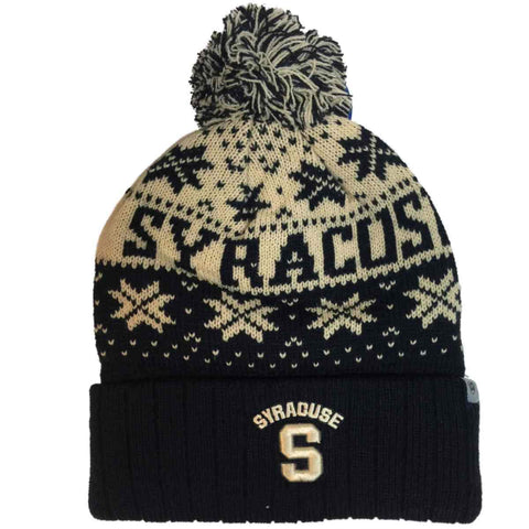 Syracuse Orange TOW Navy Subarctic Snowflake Poof Cuffed Winter Hat Cap Beanie