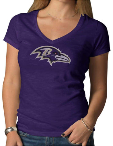 Shop Baltimore Ravens 47 Brand Women Purple V-Neck Short Sleeve Scrum T-Shirt - Sporting Up