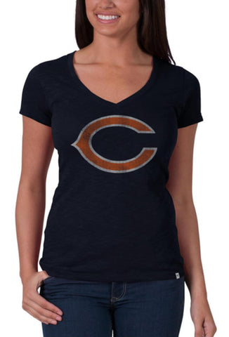 Shop Chicago Bears 47 Brand Women Fall Navy V-Neck Short Sleeve Scrum T-Shirt