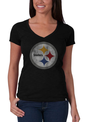 Pittsburgh Steelers 47 Brand Women Black V-Neck Short Sleeve Scrum T-Shirt