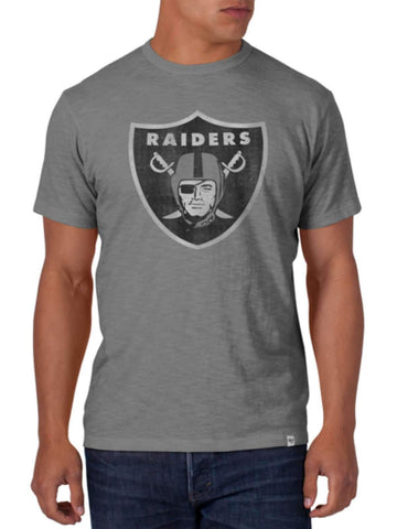 Shop Oakland Raiders 47 Brand Wolf Gray Soft Cotton Scrum T-Shirt