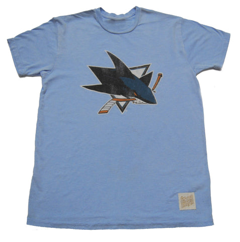 Shop San Jose Sharks Retro Brand Blue Vintage Style Soft Light Blue NHL T-Shirt - Sporting Up