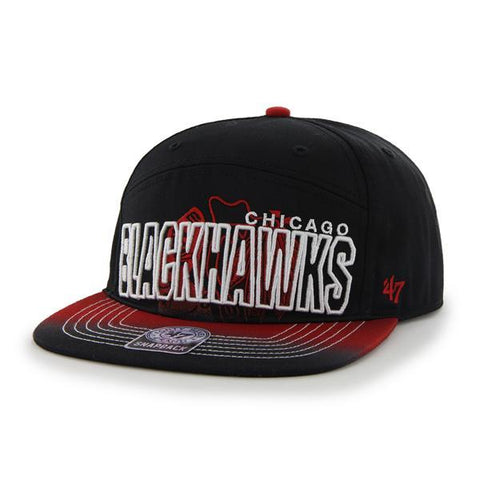 Shop Chicago Blackhawks 47 Brand Black 5 Panel Glowdown Adjustable Snapback Hat Cap