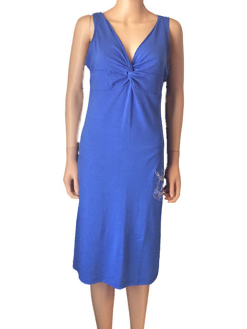 Shop Kansas Jayhawks Meesh & Mia Women Blue V-Neck Sleeveless Calf-Length Dress