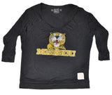 Missouri Tigers Retro Brand Black Womens Deep V-Neck Long Sleeve T-Shirt