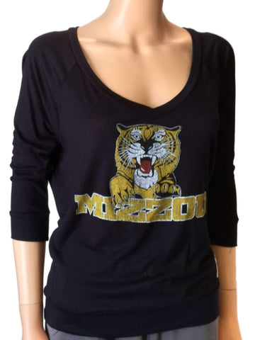 Shop Missouri Tigers Retro Brand Black Womens Deep V-Neck Long Sleeve T-Shirt