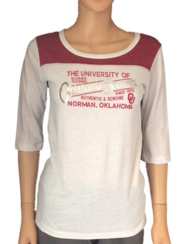 Shop Oklahoma Sooners Blue 84 Women White Red-Shoulder Half-Sleeve T-Shirt
