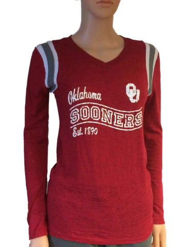 Oklahoma Sooners Blue 84 Women Red V-Neck Burn Out Long Sleeve T-Shirt