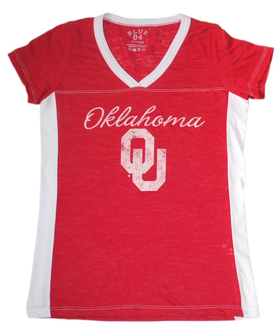 Shop Oklahoma Sooners Blue 84 Women Red White-Side-Stripes V-Neck Burn Out T-Shirt