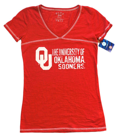 Shop Oklahoma Sooners Blue 84 Women Red White Burn Out V-Neck T-Shirt