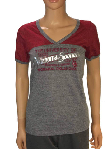 Shop Oklahoma Sooners Blue 84 Women Gray Red-Shoulder V-Neck Short Sleeve T-Shirt